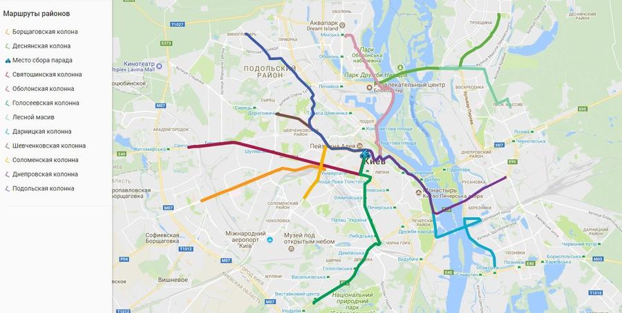 Велодень 2018. Карта проезда районных колонн.