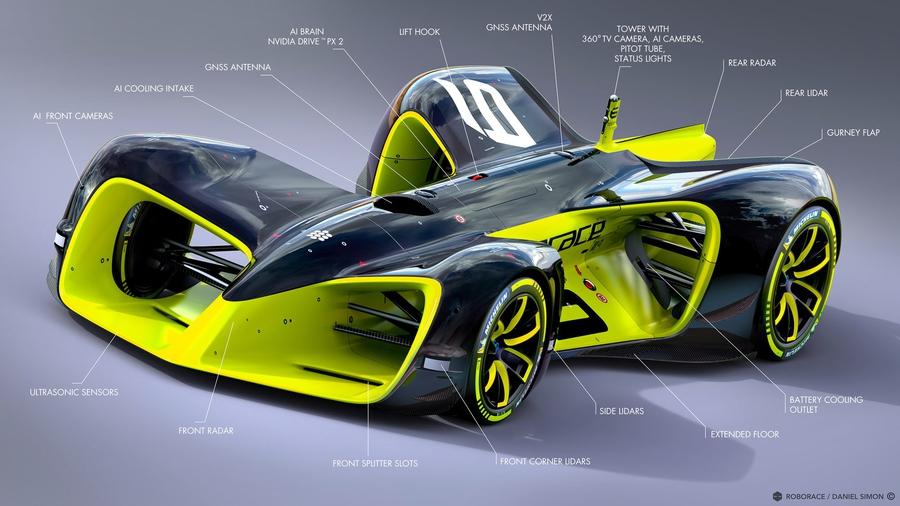 Предполагаемый дизайн беспилотных гоночных автомобилей