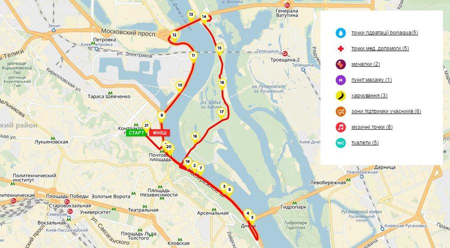 Карта киевского полумарафона 2016