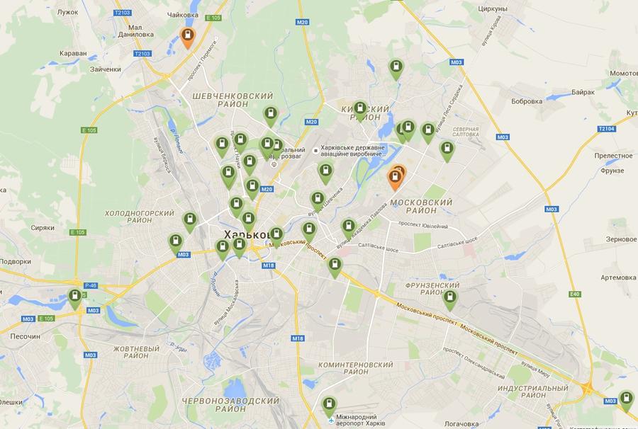 Карта зарядных станций в Харькове