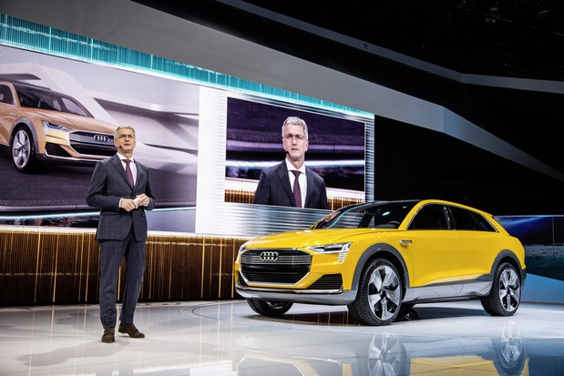 Кроссовер Audi h-tron заправляется водородом за 4 минуты и проезжает 600 км