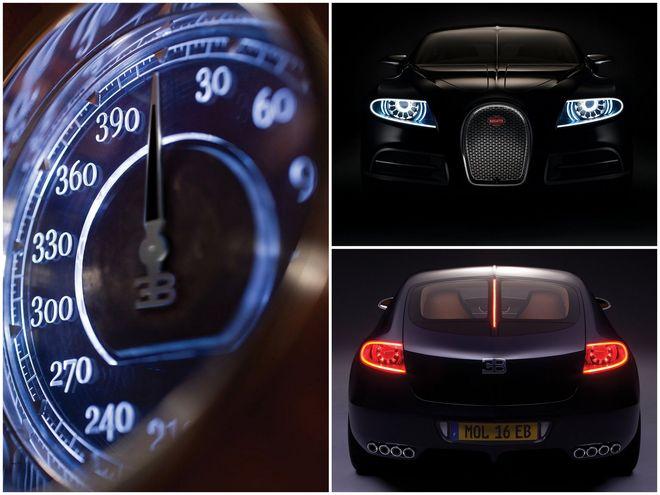 Bugatti Galibier — коллаж, спидометр и экстерьер