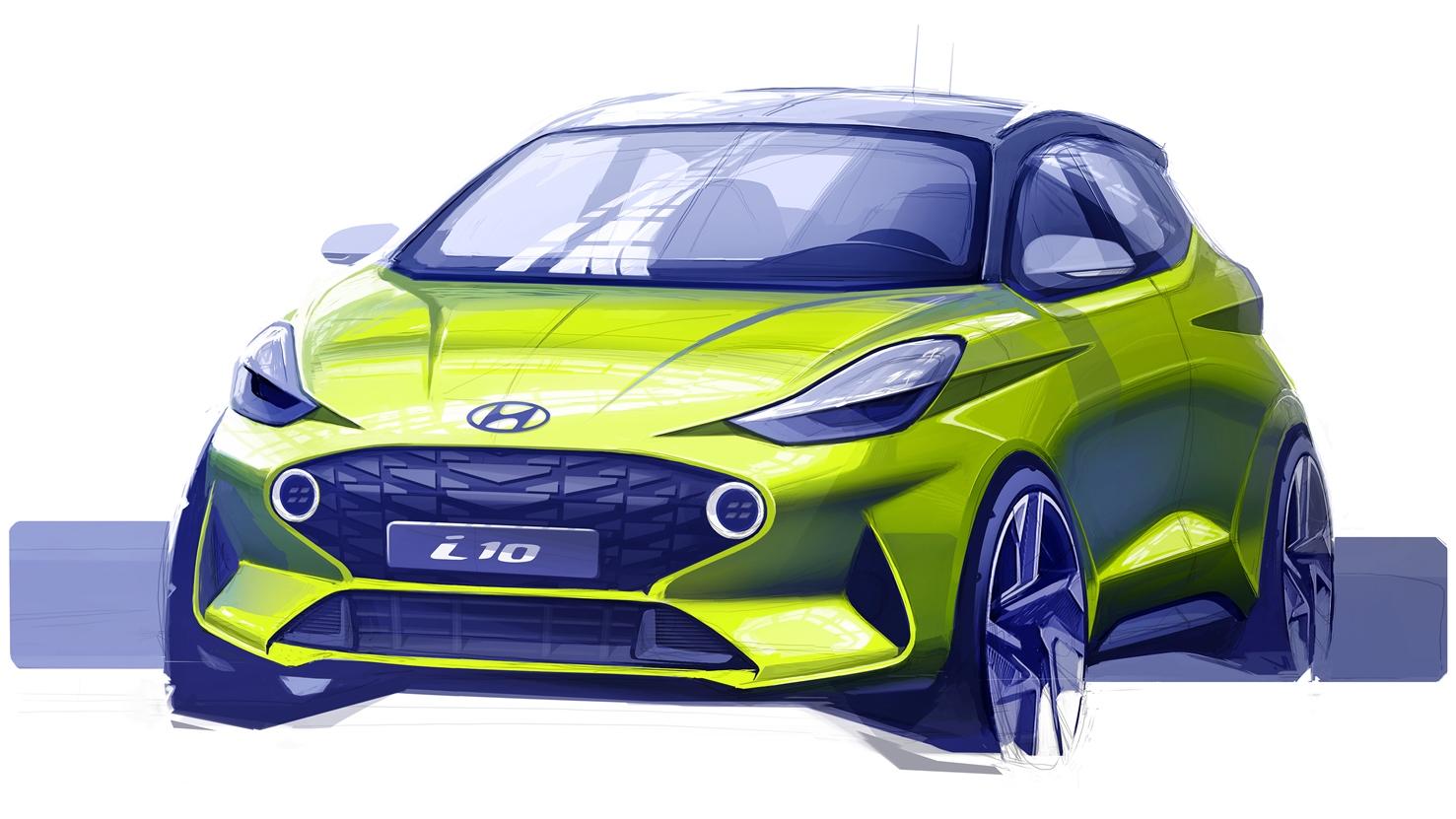 Компания Hyundai опубликовала первый эскиз нового i10