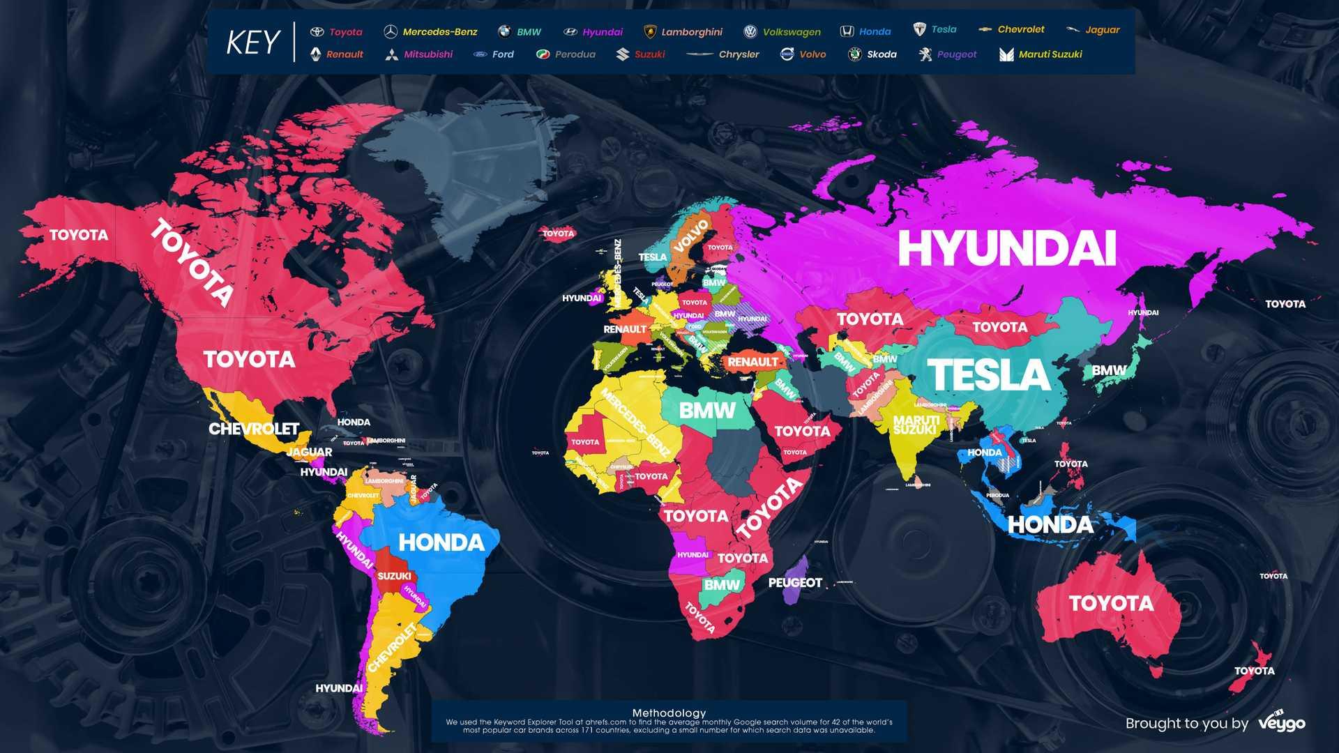 Названы автомобильные марки, которые чаще всего «гуглят» в разных странах