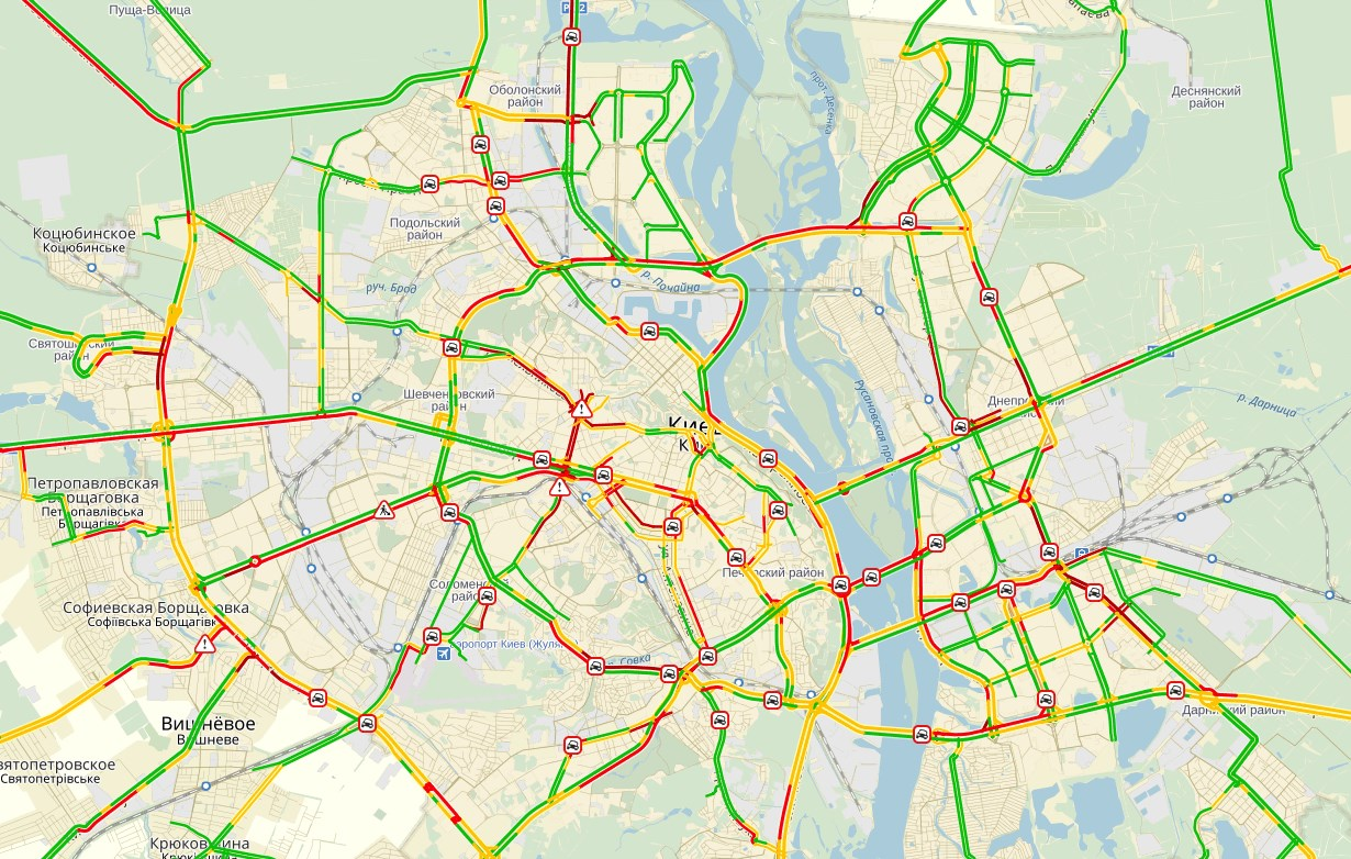 В Киеве зафиксированы 10-бальные пробки