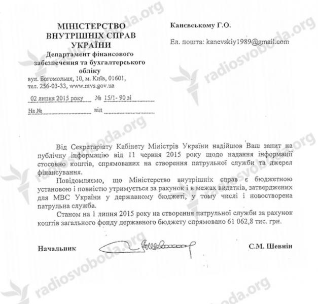 Стоимость полиции для госбюджета Украины