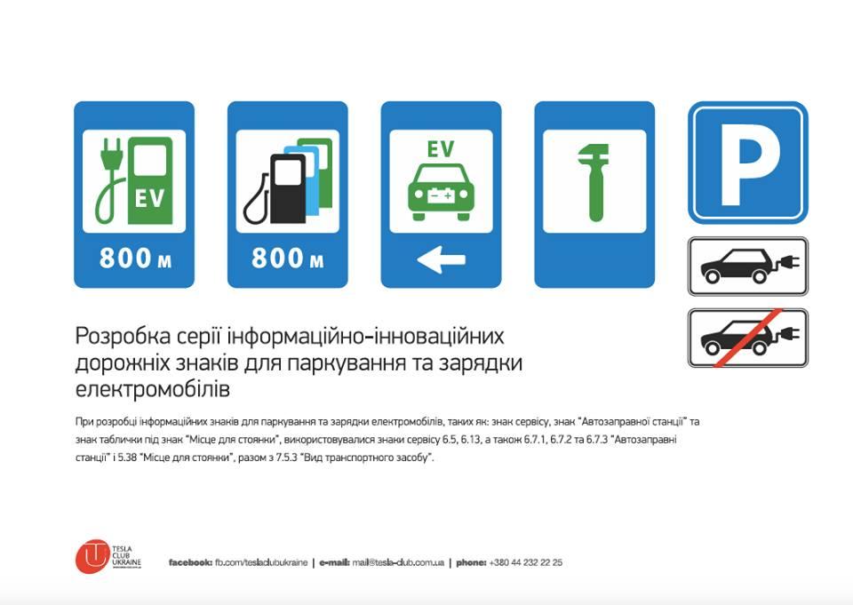 Украинский Tesla Club разработал дорожные знаки для электромобилей